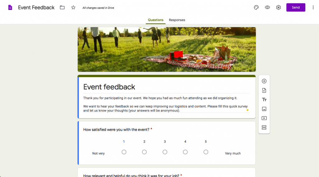 Event feedback, event feedback form, feedback form, event staff, survey